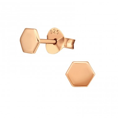 Hexagon geometric shape - 925 Sterling Silver Plain Ear Studs A4S39842