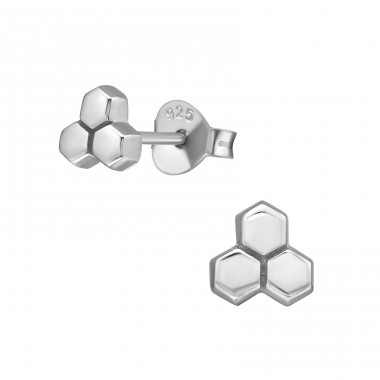 Honeycomb from bees - 925 Sterling Silver Plain Ear Studs A4S39843