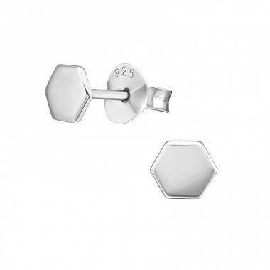 Hexagon geometrical shape - 925 Sterling Silver Plain Ear Studs A4S39845