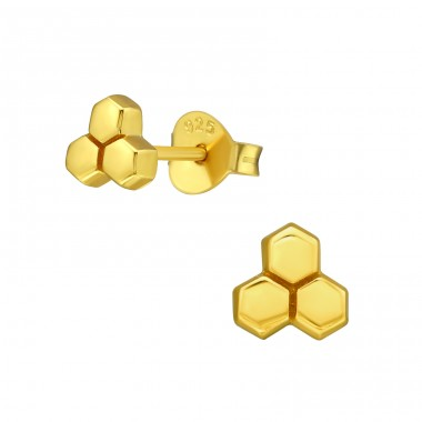 Honeycomb from bees - 925 Sterling Silver Plain Ear Studs A4S39846