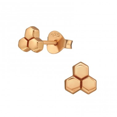 Honeycomb from bees - 925 Sterling Silver Plain Ear Studs A4S39847