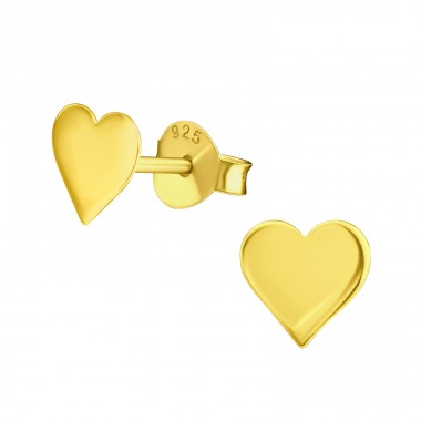 Heart gold plated - 925 Sterling Silver Plain Ear Studs A4S39854