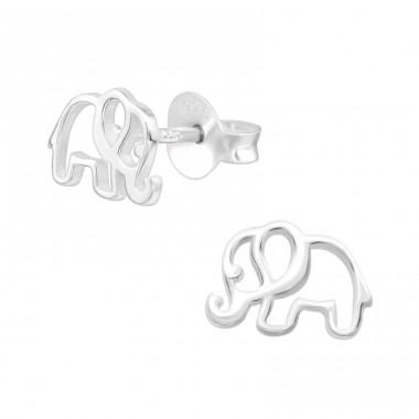 Elephant - 925 Sterling Silver Plain Ear Studs A4S39871