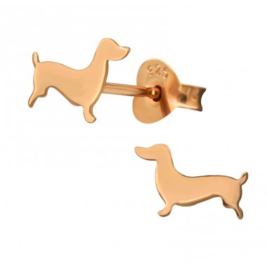 Dog rosegold plated - 925 Sterling Silver Plain Ear Studs A4S39872