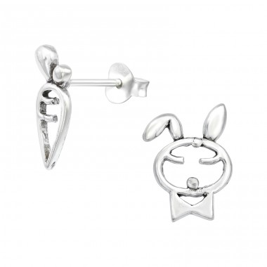 Rabbit And Carrot - 925 Sterling Silver Plain Ear Studs A4S39920