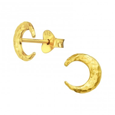 Moon - 925 Sterling Silver Plain Ear Studs A4S39924