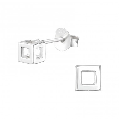 Cube - 925 Sterling Silver Plain Ear Studs A4S39945