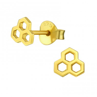 Honeycomb - 925 Sterling Silver Plain Ear Studs A4S39956