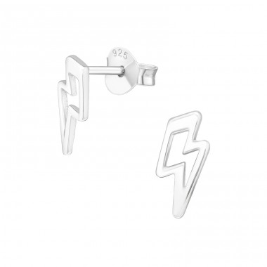 Thunderbolt - 925 Sterling Silver Plain Ear Studs A4S39970