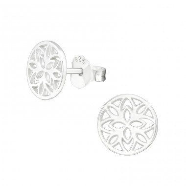 Flower - 925 Sterling Silver Plain Ear Studs A4S39975