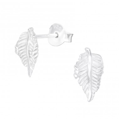 Leaf - 925 Sterling Silver Plain Ear Studs A4S39977