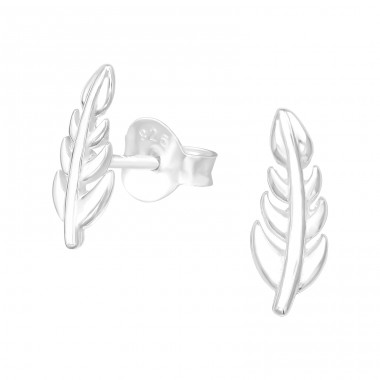 Leaf - 925 Sterling Silver Plain Ear Studs A4S39997