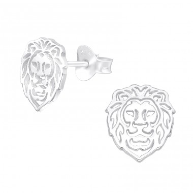 Lion - 925 Sterling Silver Plain Ear Studs A4S40000