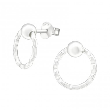 Ball With Hanging Circle - 925 Sterling Silver Plain Ear Studs A4S40295