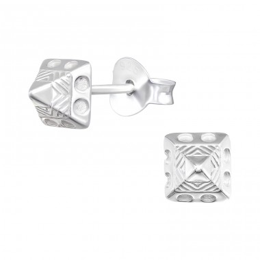 Pyramid - 925 Sterling Silver Plain Ear Studs A4S40379