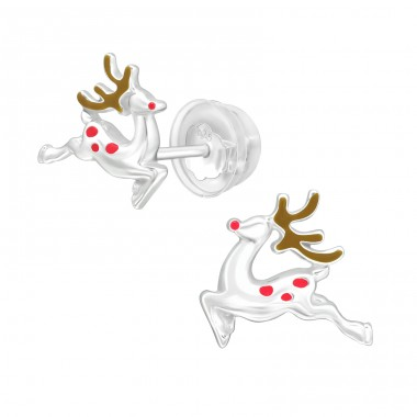 Christmas Reindeer - 925 Sterling Silver Plain Ear Studs A4S40390