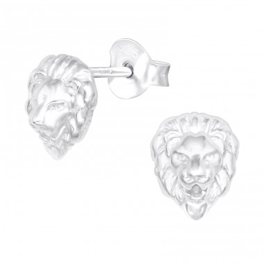 Lion - 925 Sterling Silver Plain Ear Studs A4S40399