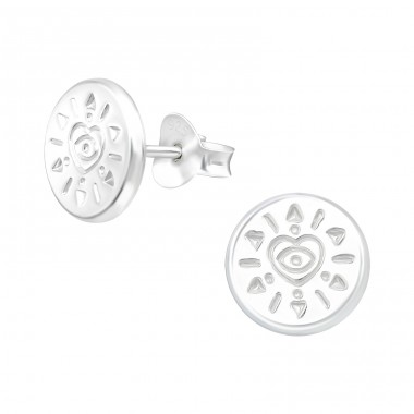 Evil Eye - 925 Sterling Silver Plain Ear Studs A4S40475