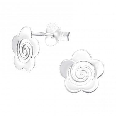 Flower with spiral - 925 Sterling Silver Plain Ear Studs A4S40502
