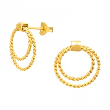 Golden double Circle - 925 Sterling Silver Plain Ear Studs A4S40541