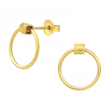 Golden Circle - 925 Sterling Silver Plain Ear Studs A4S40542