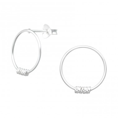 Circle - 925 Sterling Silver Plain Ear Studs A4S40543