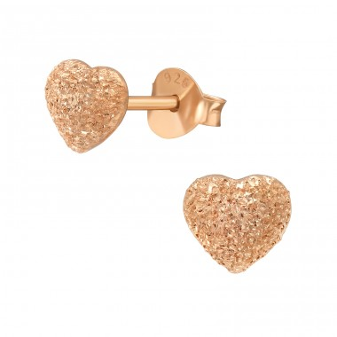 Brushed rosegold Heart - 925 Sterling Silver Plain Ear Studs A4S40642