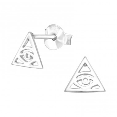 Evil Eye - 925 Sterling Silver Plain Ear Studs A4S40903
