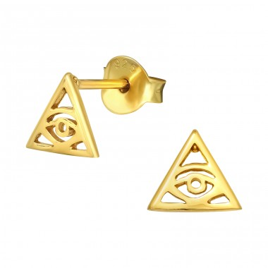 Golden Evil Eye - 925 Sterling Silver Plain Ear Studs A4S40904