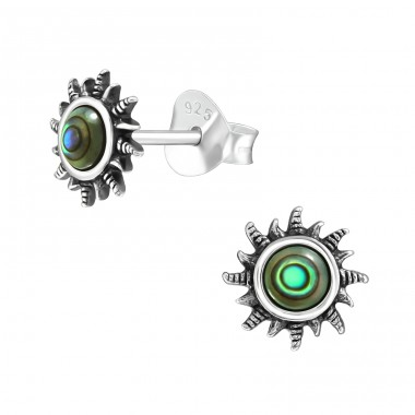 Sun - 925 Sterling Silver Plain Ear Studs A4S40916