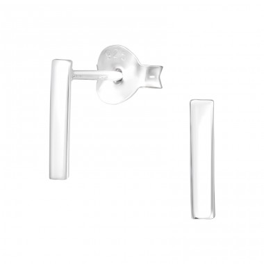 Bar - 925 Sterling Silver Plain Ear Studs A4S40961