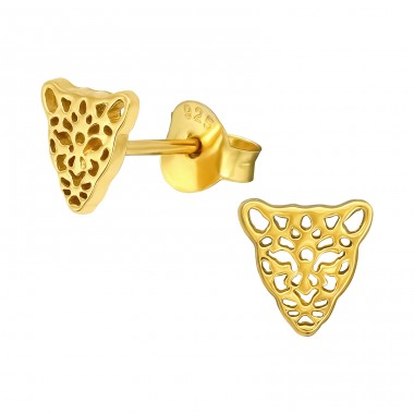 Golden Leopard - 925 Sterling Silver Plain Ear Studs A4S40966