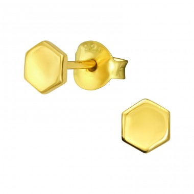 Golden Hexagon - 925 Sterling Silver Plain Ear Studs A4S40975