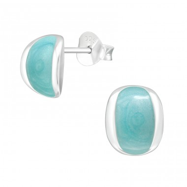 Geometric - 925 Sterling Silver Plain Ear Studs A4S40979