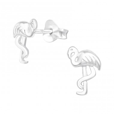 Flamingo - 925 Sterling Silver Plain Ear Studs A4S40982