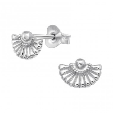 Folding Fan - 925 Sterling Silver Plain Ear Studs A4S40983