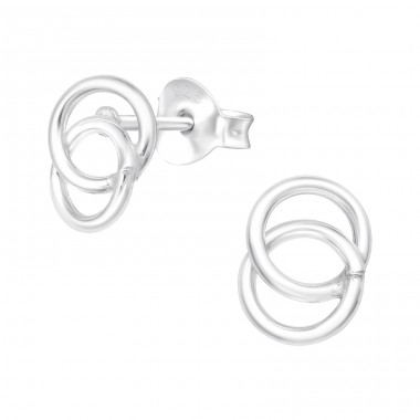Round - 925 Sterling Silver Plain Ear Studs A4S41017
