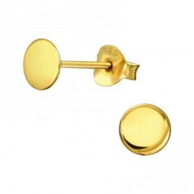 Golden flat Circle - 925 Sterling Silver Plain Ear Studs A4S41019