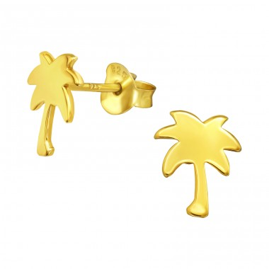 Golden Palm - 925 Sterling Silver Plain Ear Studs A4S41022