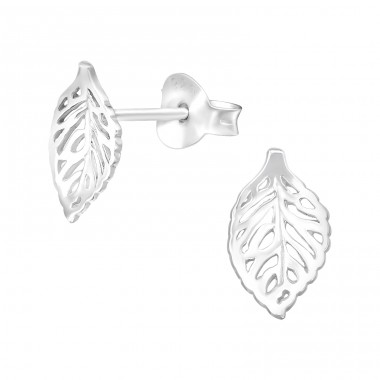 Leaf - 925 Sterling Silver Plain Ear Studs A4S41028