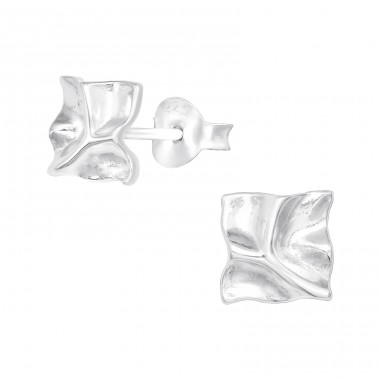 Square - 925 Sterling Silver Plain Ear Studs A4S41029