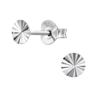 Circle - 925 Sterling Silver Plain Ear Studs A4S41065