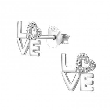 Love - 925 Sterling Silver Plain Ear Studs A4S41073