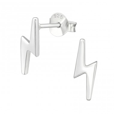 Thunderbolt - 925 Sterling Silver Plain Ear Studs A4S41118