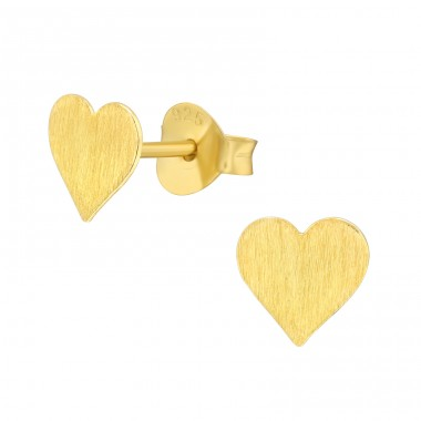 Golden brushed Heart - 925 Sterling Silver Plain Ear Studs A4S41157
