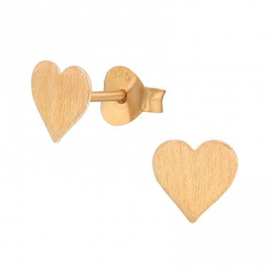 Rosegold brushed Heart - 925 Sterling Silver Plain Ear Studs A4S41158