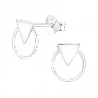 Triangle with circle - 925 Sterling Silver Plain Ear Studs A4S41175