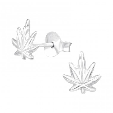 Weed Cannabis leaf - 925 Sterling Silver Plain Ear Studs A4S41523