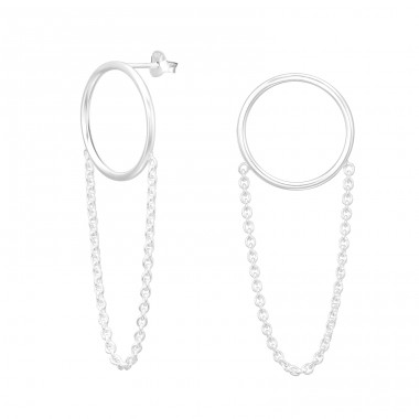 Circle with hanging chain - 925 Sterling Silver Plain Ear Studs A4S41607