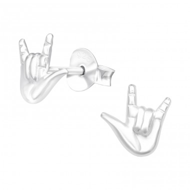 Rock On Sign - 925 Sterling Silver Plain Ear Studs A4S42029